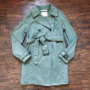 Old Navy • green canvas maternity trench coat